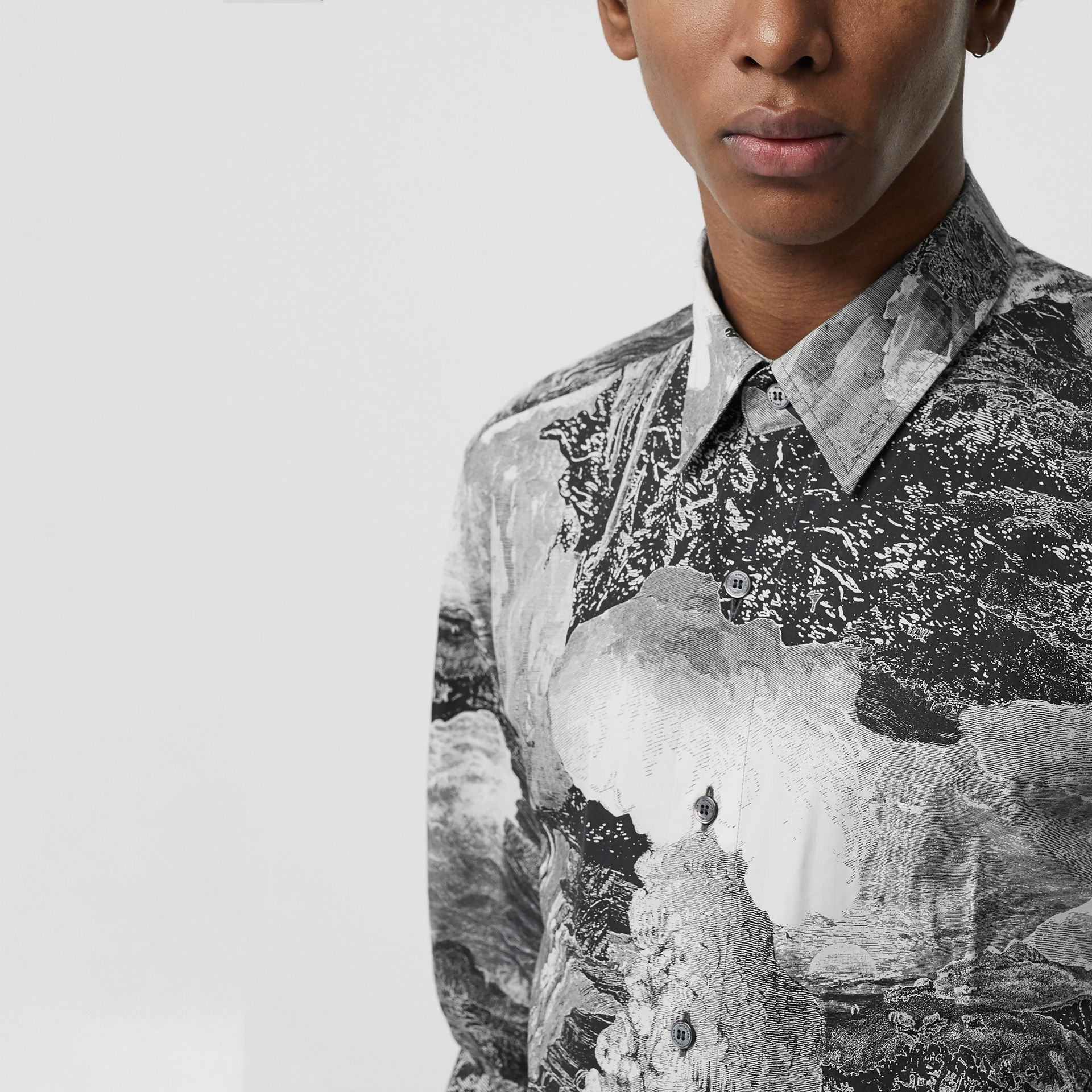 Dreamscape Print Cotton Silk Shirt in Black - Men | Burberry Australia - gallery image 1