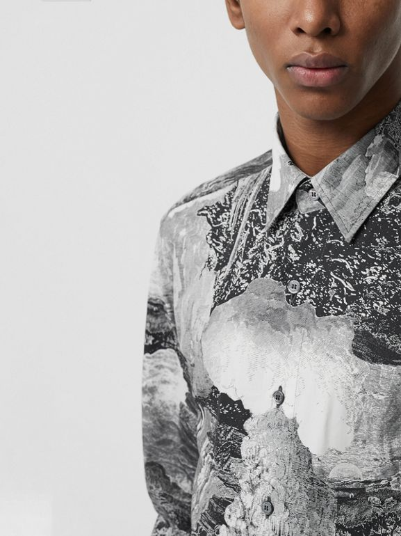 Dreamscape Print Cotton Silk Shirt in Black - Men | Burberry Australia - cell image 1