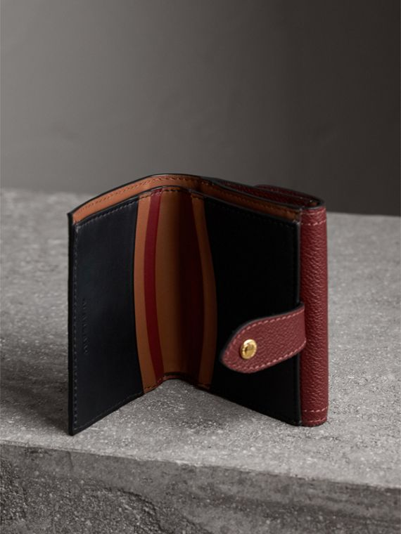 Haymarket Check and Leather Wallet in Burgundy/multicolour - Women | Burberry - cell image 3