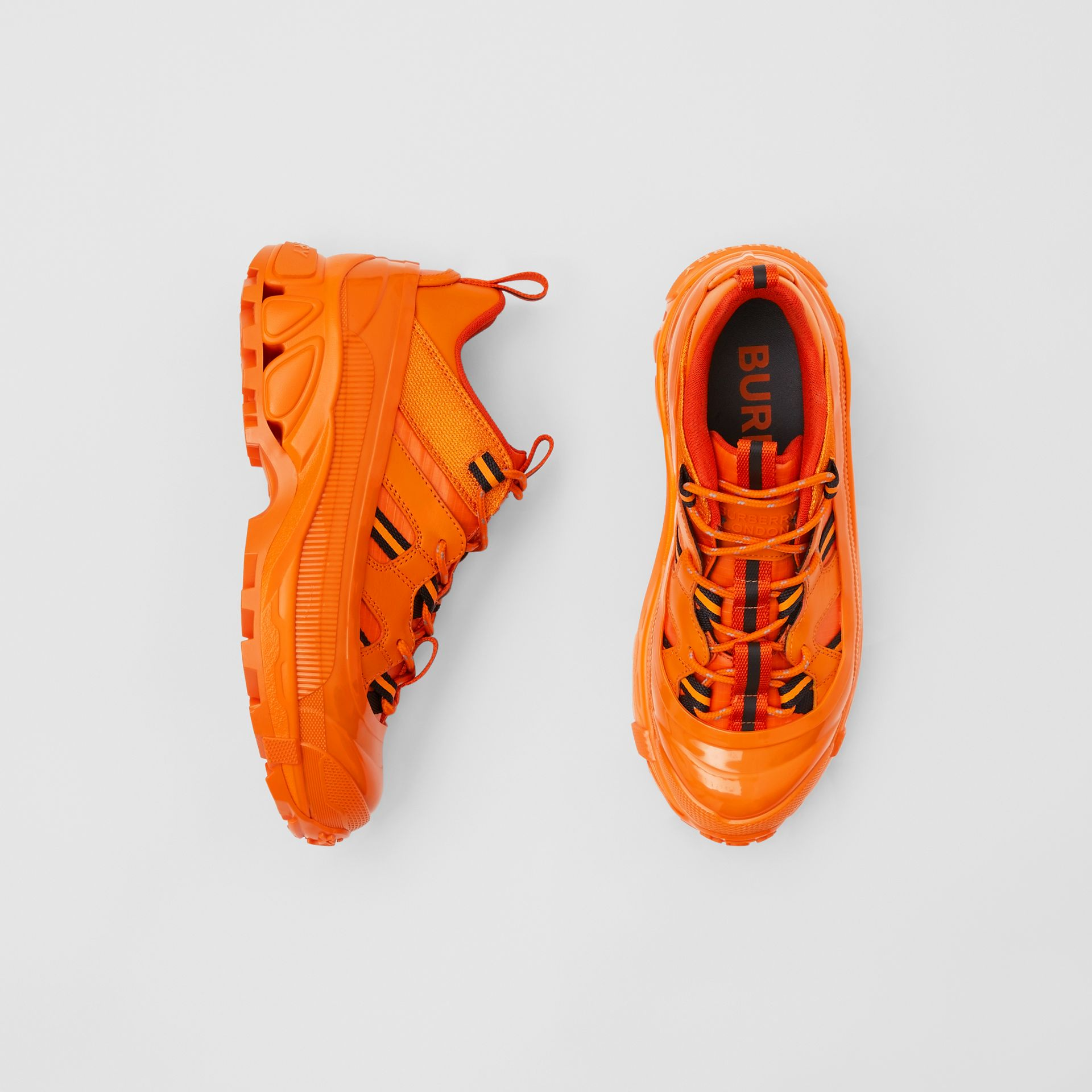 Leather and Nylon Arthur Sneakers in Bright Orange - Women | Burberry - gallery image 0