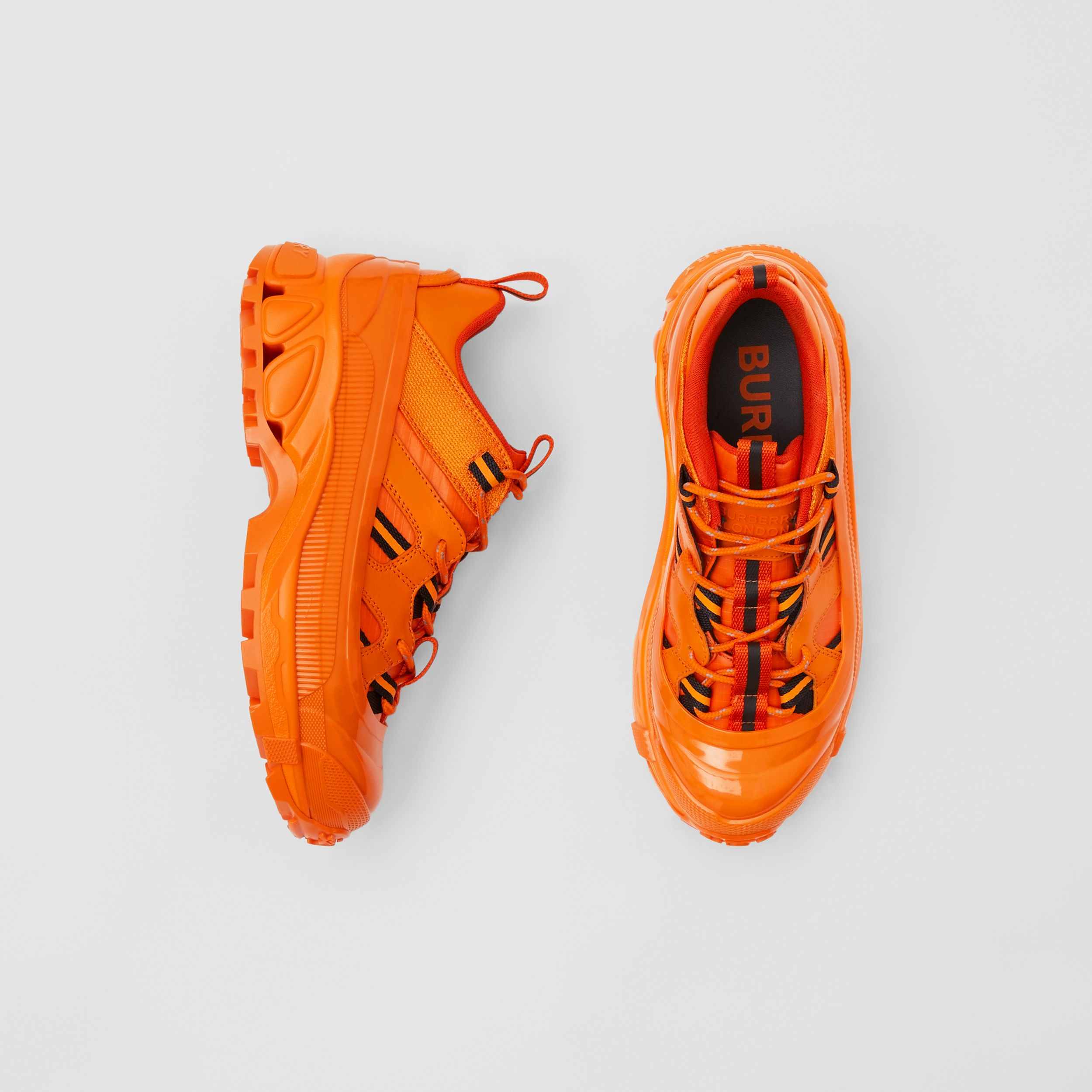 Leather and Nylon Arthur Sneakers in Bright Orange - Women | Burberry - 1