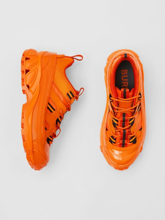 Leather and Nylon Arthur Sneakers in Bright Orange