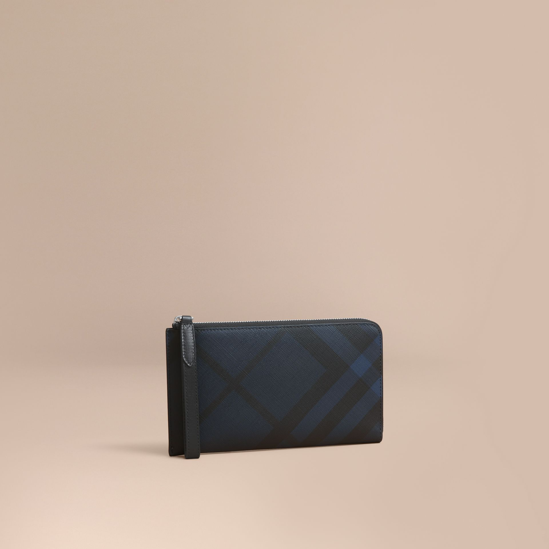 London Check Travel Wallet in Navy/black - gallery image 1