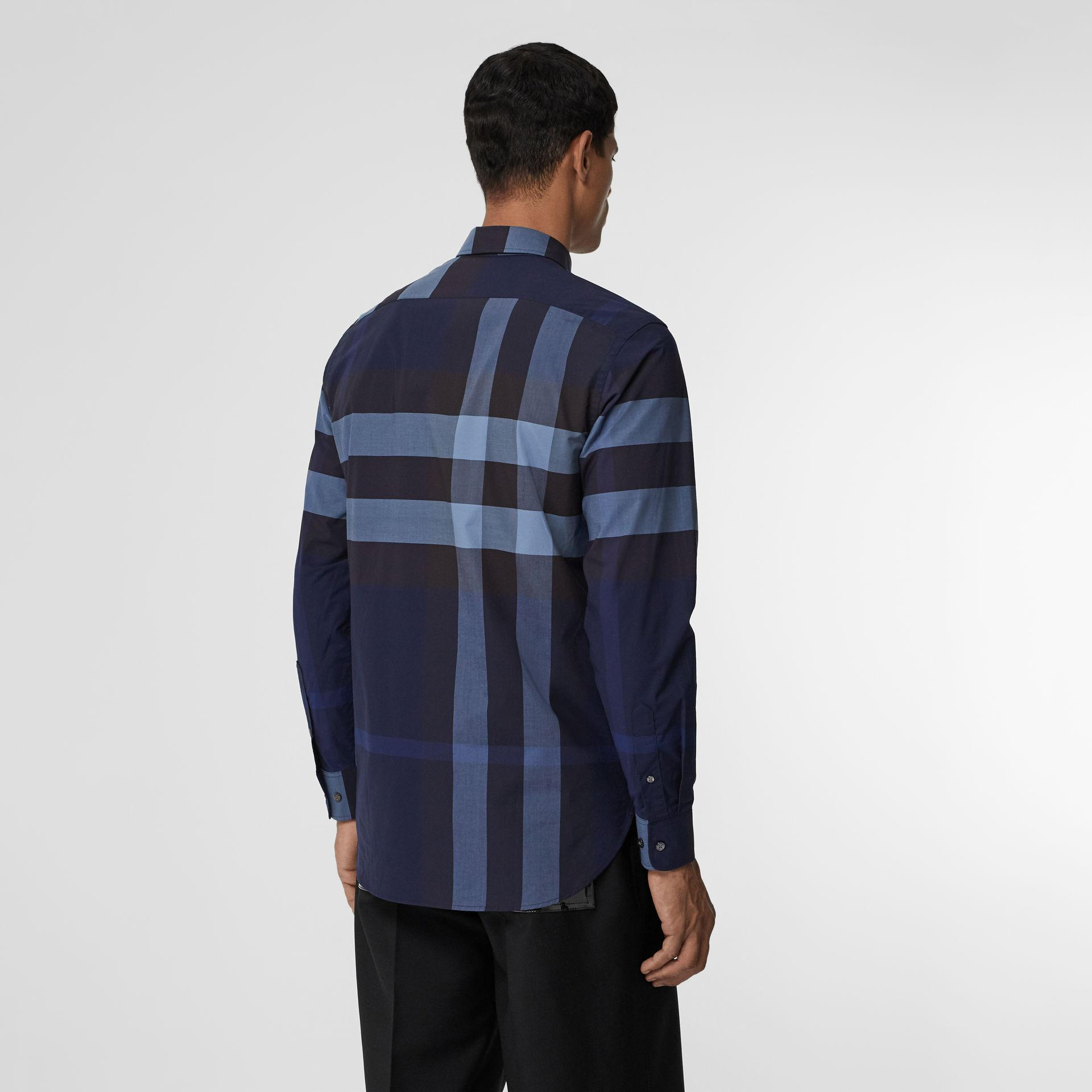 Check Stretch Cotton Shirt in Bright Navy - Men | Burberry - gallery image 2