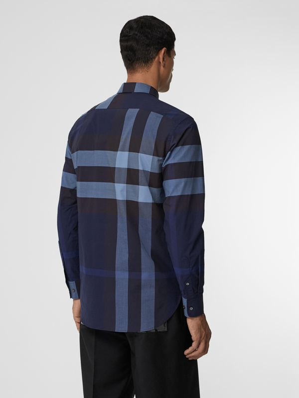 Check Stretch Cotton Shirt in Bright Navy - Men | Burberry - cell image 2
