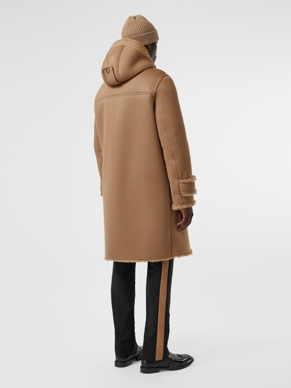 Reversible Neoprene and Shearling Hooded Duffle Coat in Warm Walnut - Men | Burberry United Kingdom - cell image 2