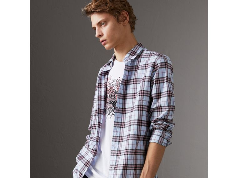 Check Cotton Shirt in Lavender Blue - Men | Burberry Australia - cell image 4