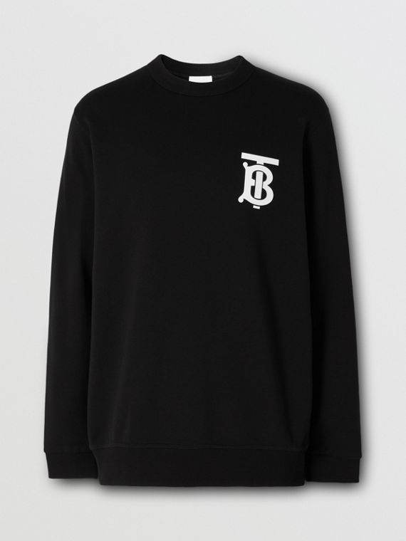Baumwollsweatshirt mit Monogrammmotiv (Schwarz)