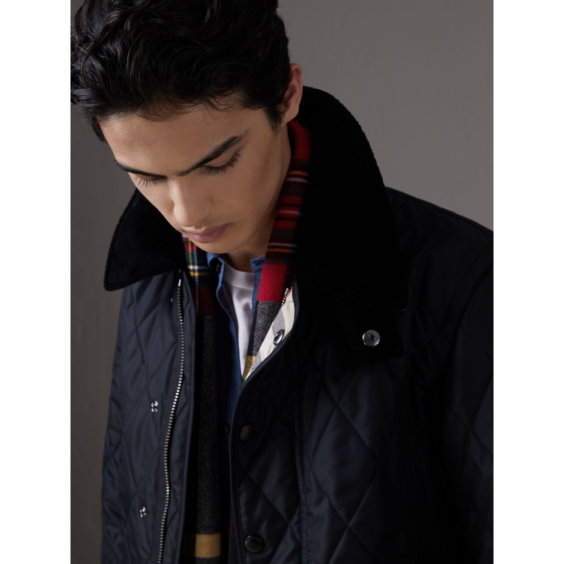 Detachable Hood Diamond Quilted Jacket in Navy - Men | Burberry - gallery image 1