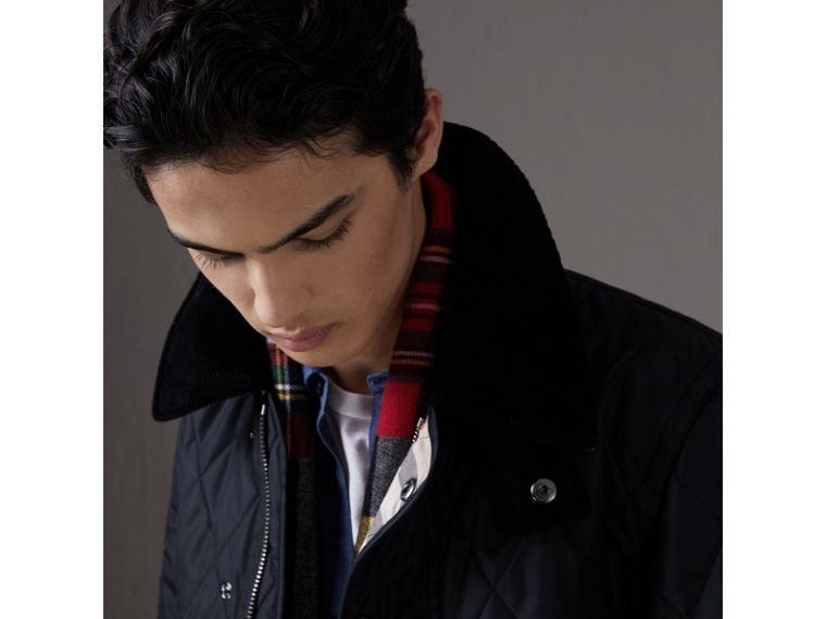 Detachable Hood Diamond Quilted Jacket in Navy - Men | Burberry - cell image 1