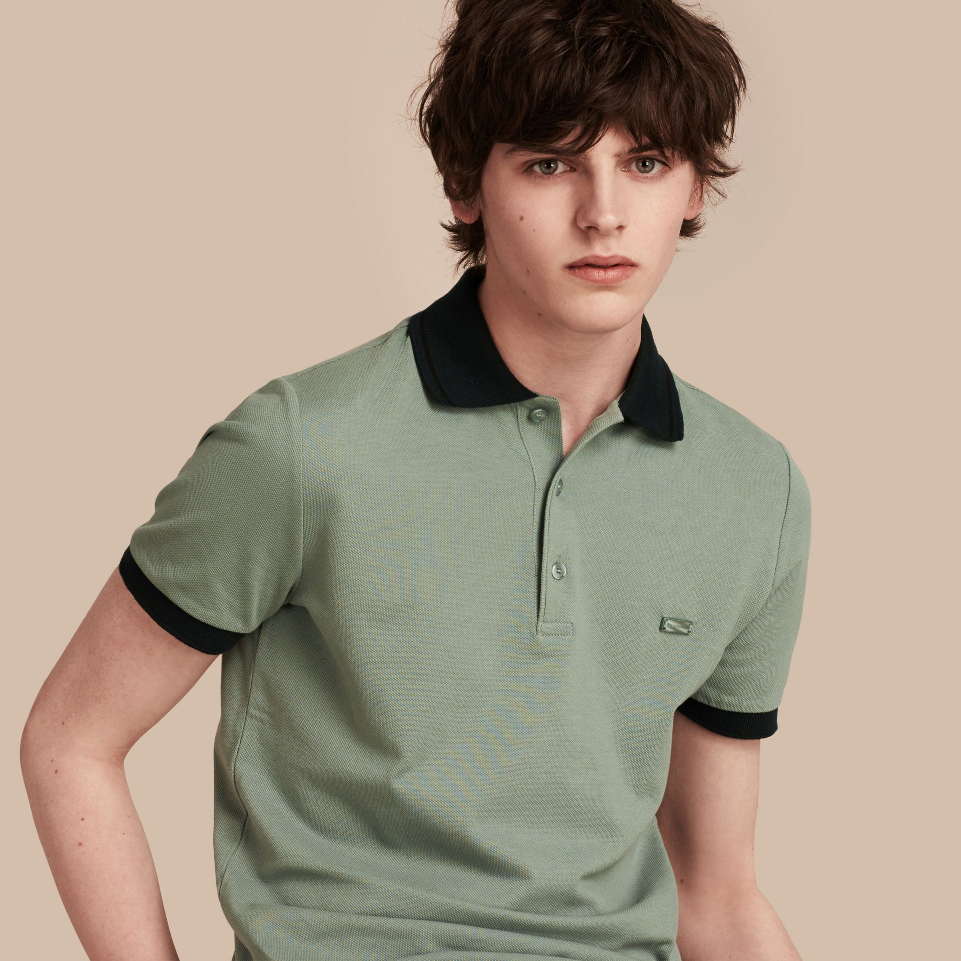 Chalk green/black Contrast Trim Cotton Piqué Polo Shirt Chalk Green/black - gallery image 1