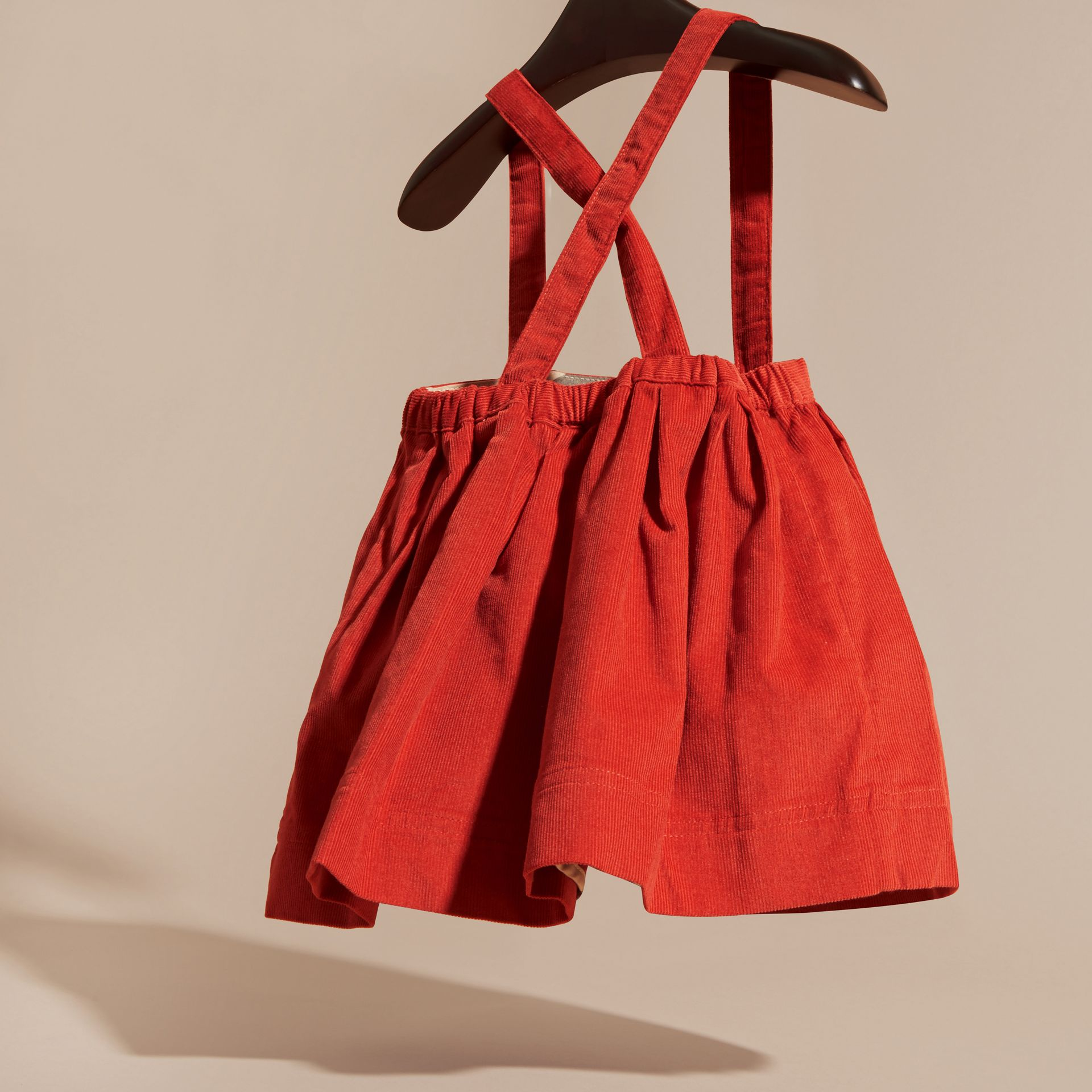 Orange red Cotton Corduroy Skirt with Straps Orange Red - gallery image 4