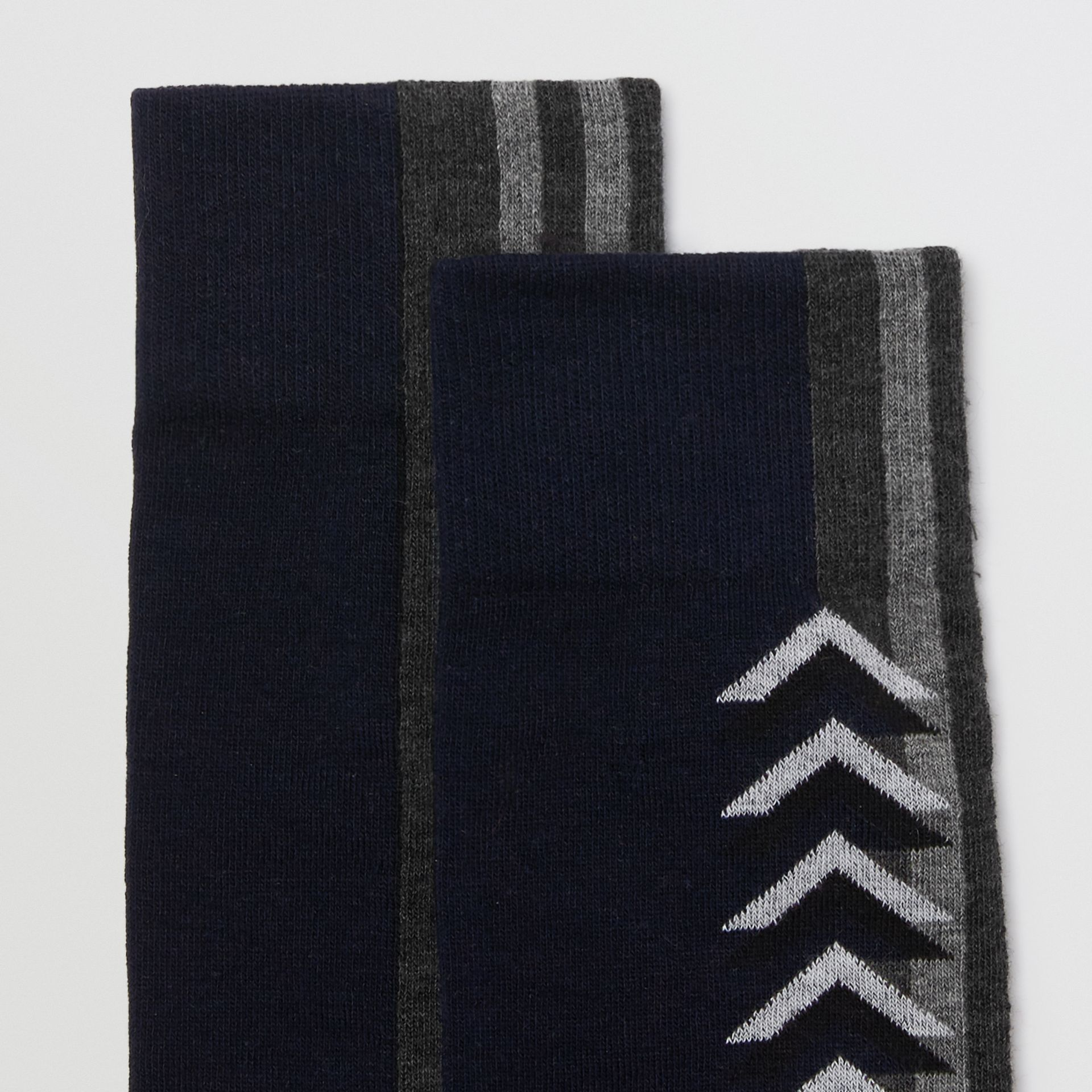Graphic Intarsia Cotton Blend Socks in Navy | Burberry - gallery image 1