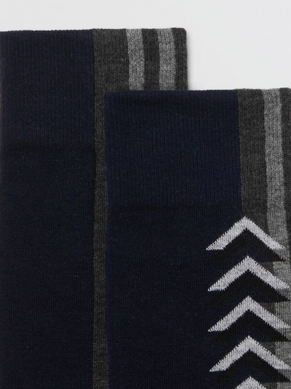 Graphic Intarsia Cotton Blend Socks in Navy - Women | Burberry - cell image 1