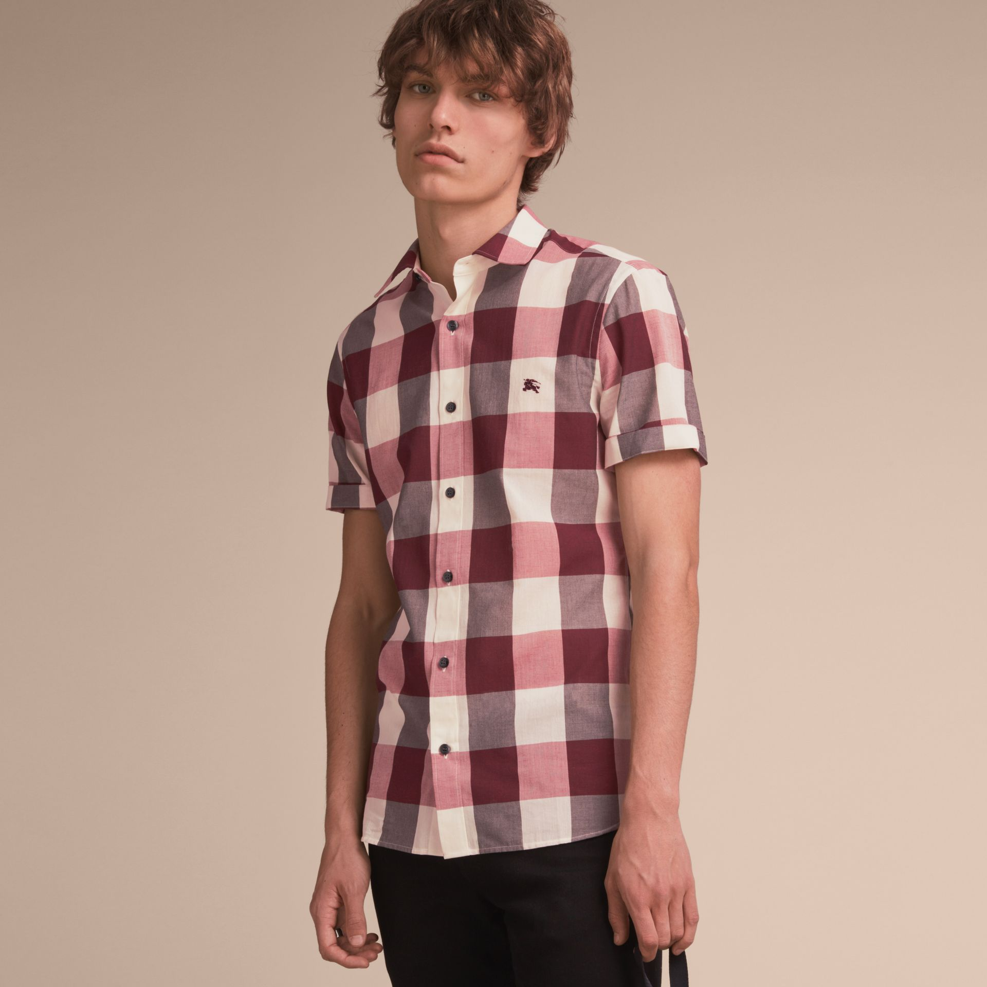 Short-sleeved Exploded Gingham Cotton Linen Shirt Plum Pink - gallery image 6