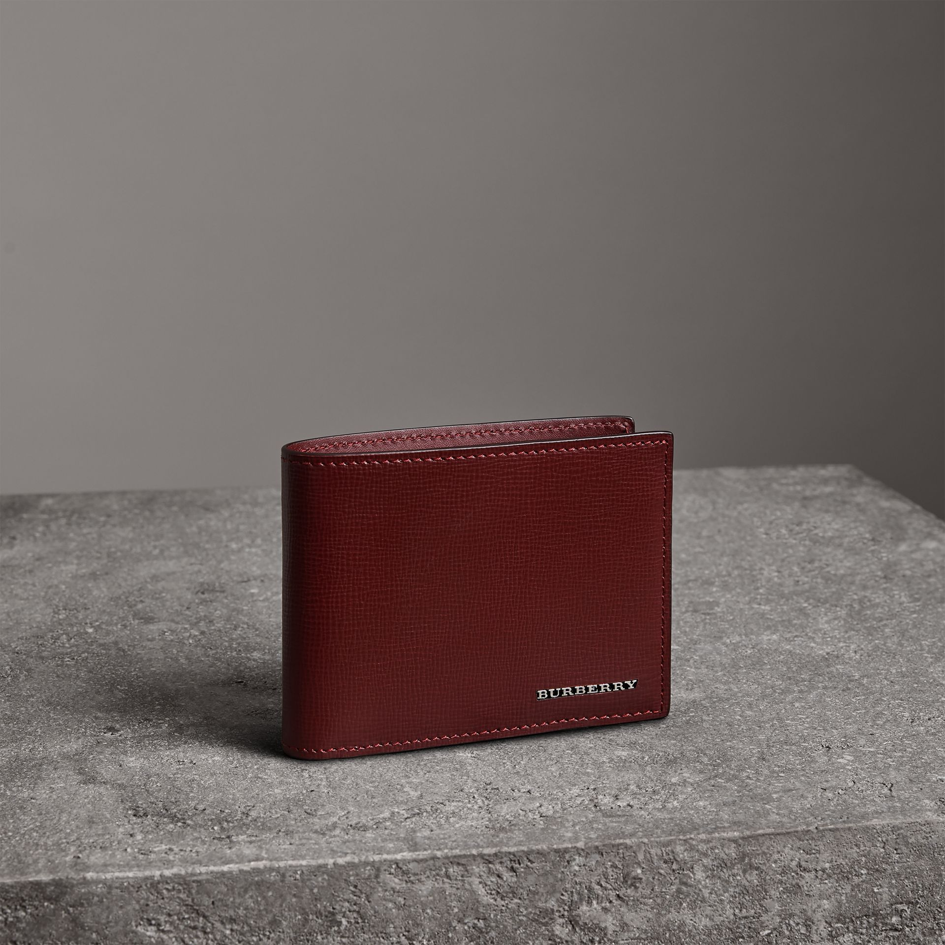 London Leather Bifold Wallet in Burgundy Red - Men | Burberry United States - gallery image 0