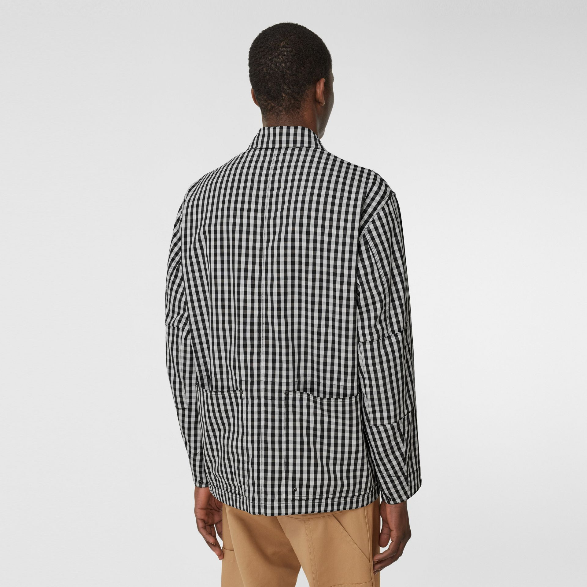 Pocket Detail Gingham Technical Wool Jacket in Black - Men | Burberry Hong Kong S.A.R - gallery image 2