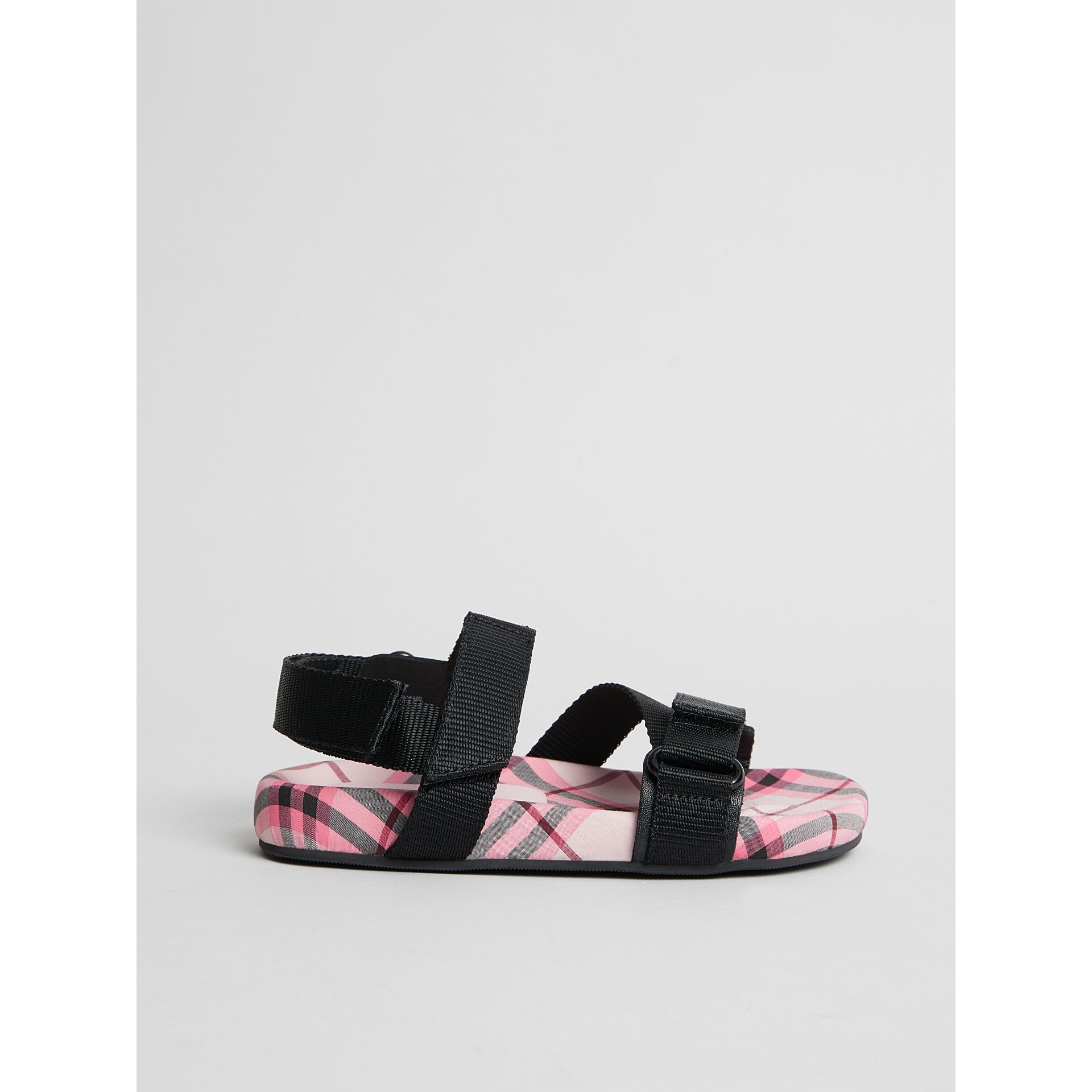Ripstop Strap Check Cotton Sandals in Bright Rose | Burberry - gallery image 3