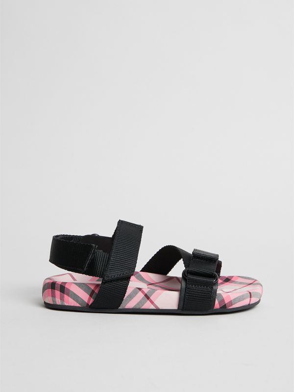 Ripstop Strap Check Cotton Sandals in Bright Rose | Burberry Singapore - cell image 3