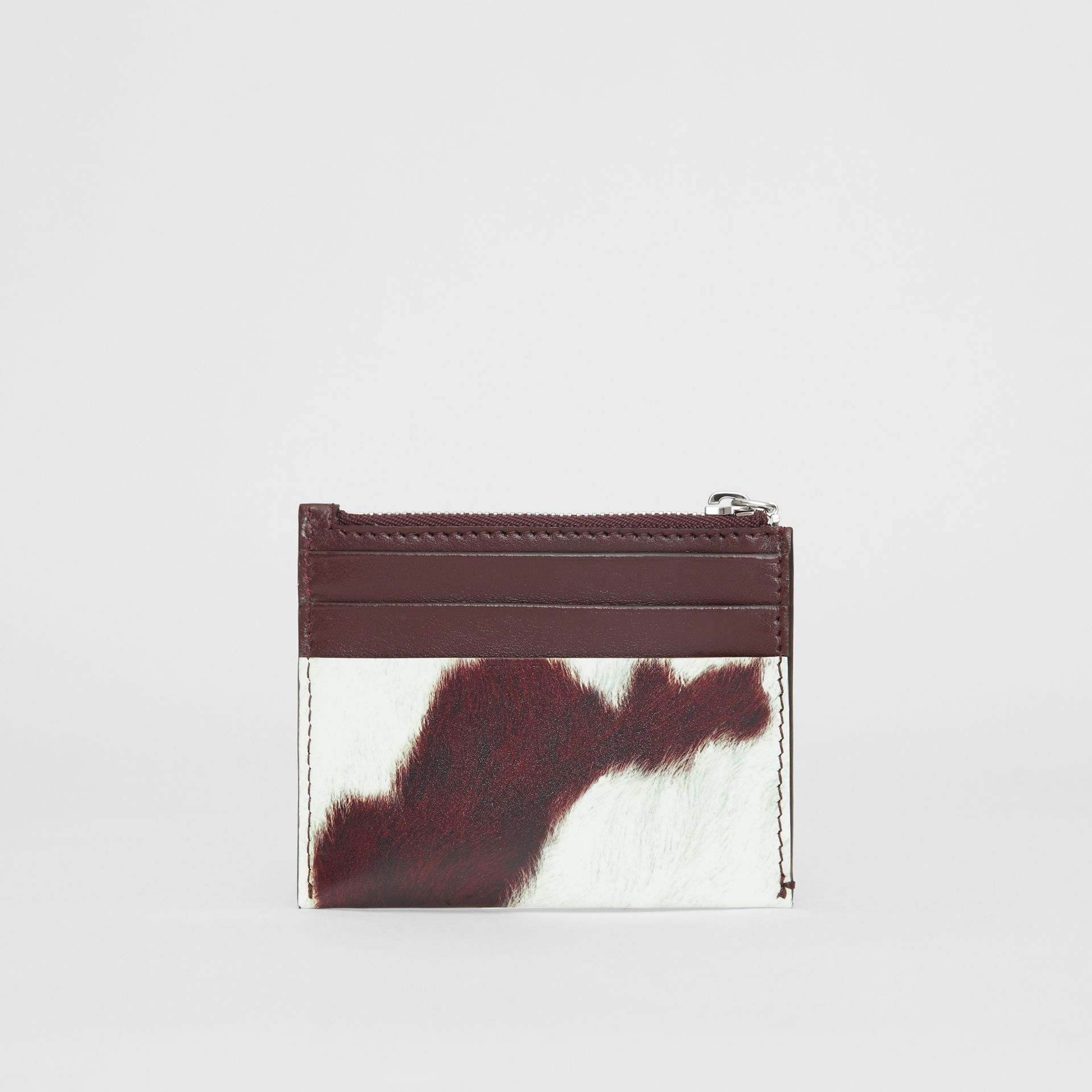 Cow Print Leather Zip Card Case in Mahogany - Women | Burberry - gallery image 4