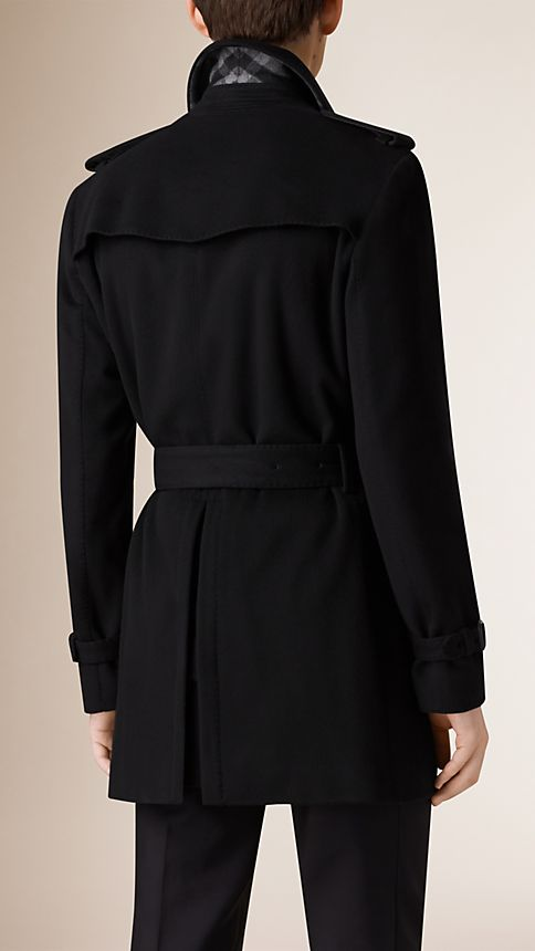 Black Mid-Length Virgin Wool Cashmere Trench Coat - Image 3