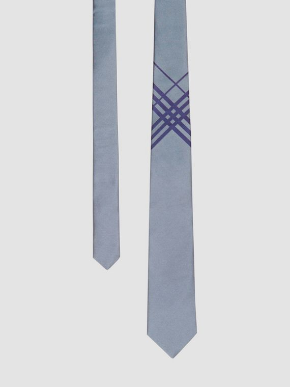Cravatta classica in jacquard di seta con motivo tartan (Blu Gesso)