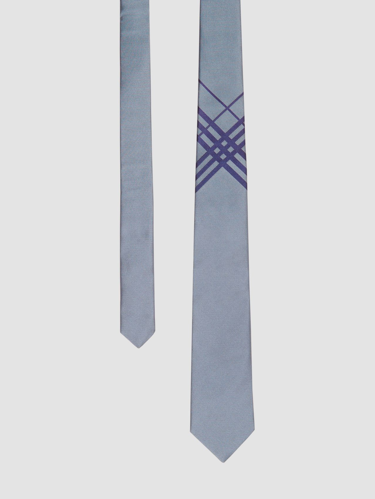 Classic Cut Check Silk Jacquard Tie in Chalk Blue