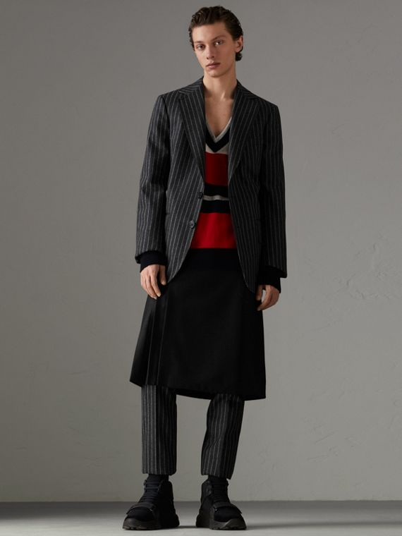 Pinstriped Wool Blend Twill Trousers in Dark Grey