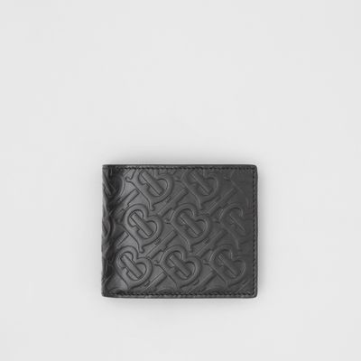 Monogram Leather Bifold Wallet With Id Card Case by Burberry