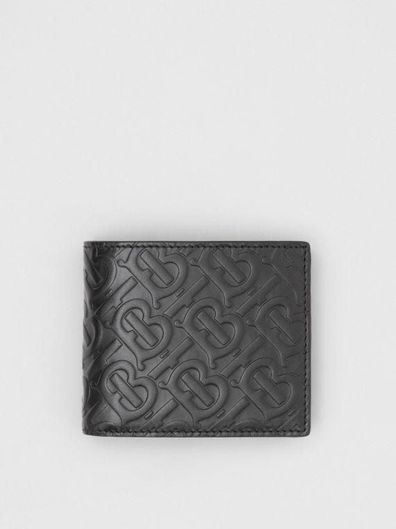Monogram Leather Bifold Wallet with ID Card Case in Black