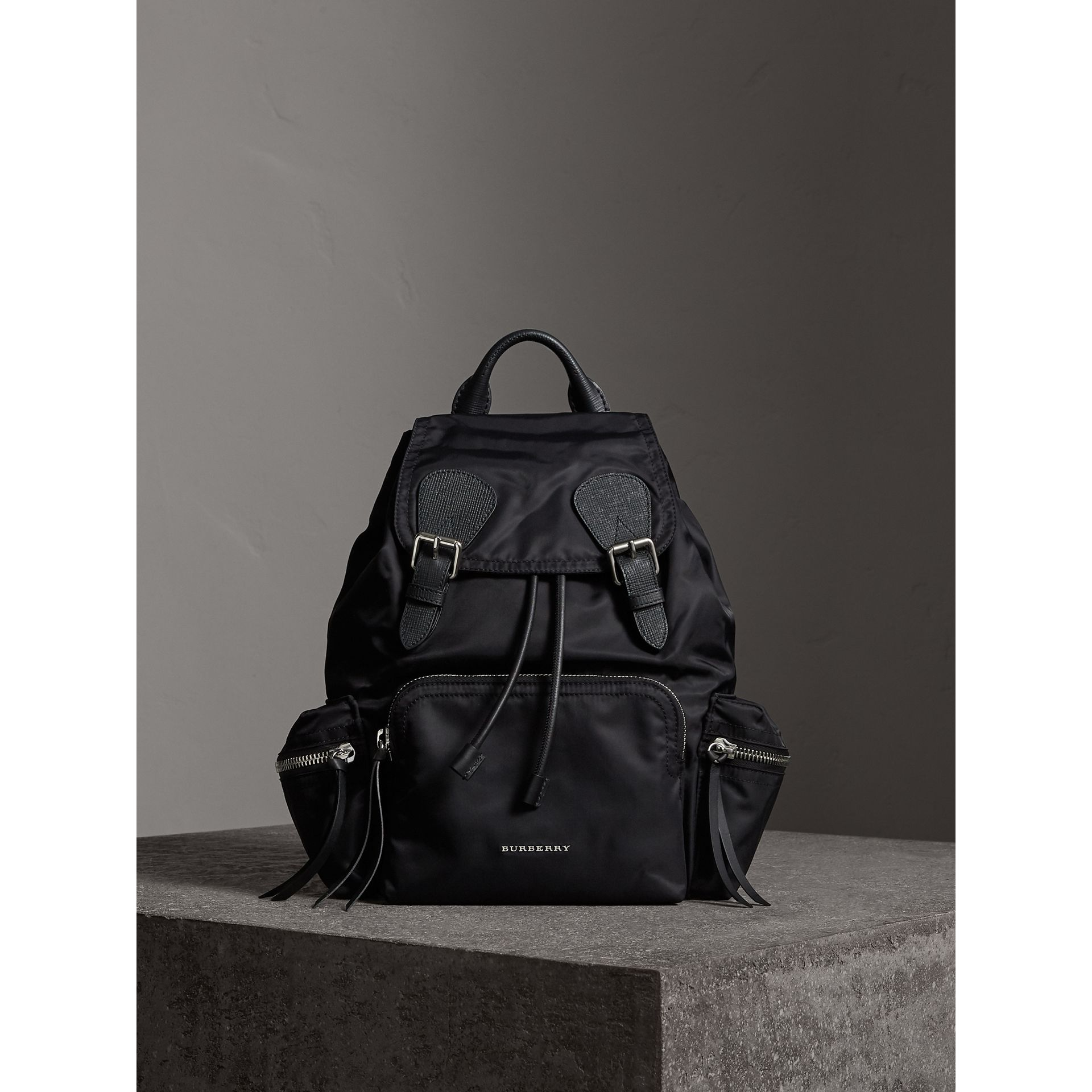 The Medium Rucksack in Nylon and Leather in Black/black - Women | Burberry - gallery image 1