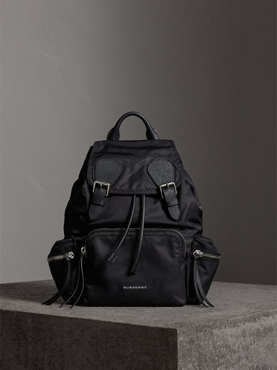 The Medium Rucksack in Nylon and Leather in Black/black