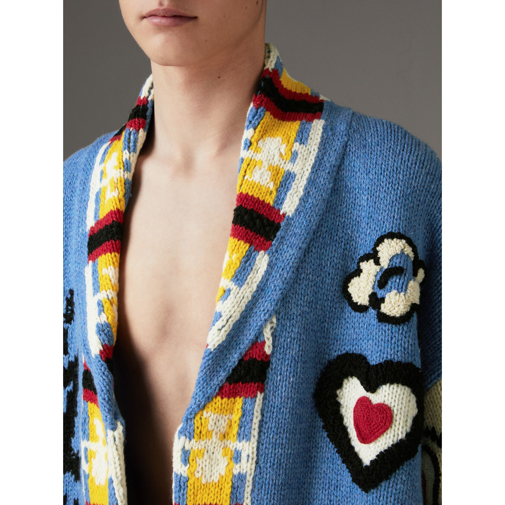 Wool Graphic Intarsia Cardigan in Sky Blue | Burberry Canada - gallery image 1