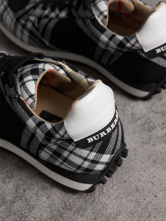 Tartan Wool Sneakers in Black - Men | Burberry Canada - cell image 3