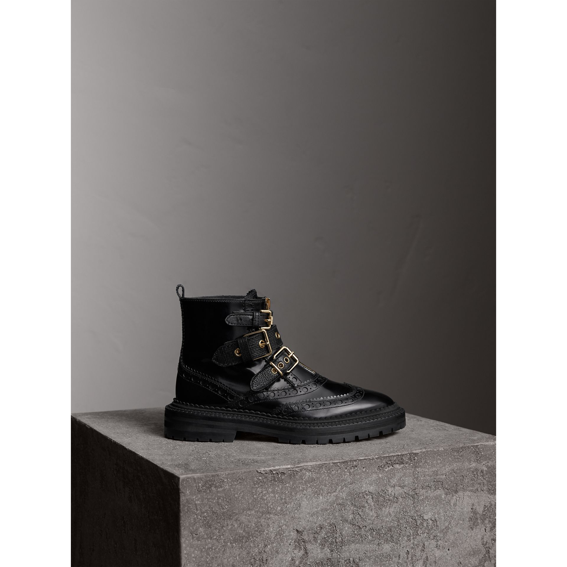 Buckled Leather Brogue Ankle Boots in Black - Women | Burberry Australia - gallery image 1