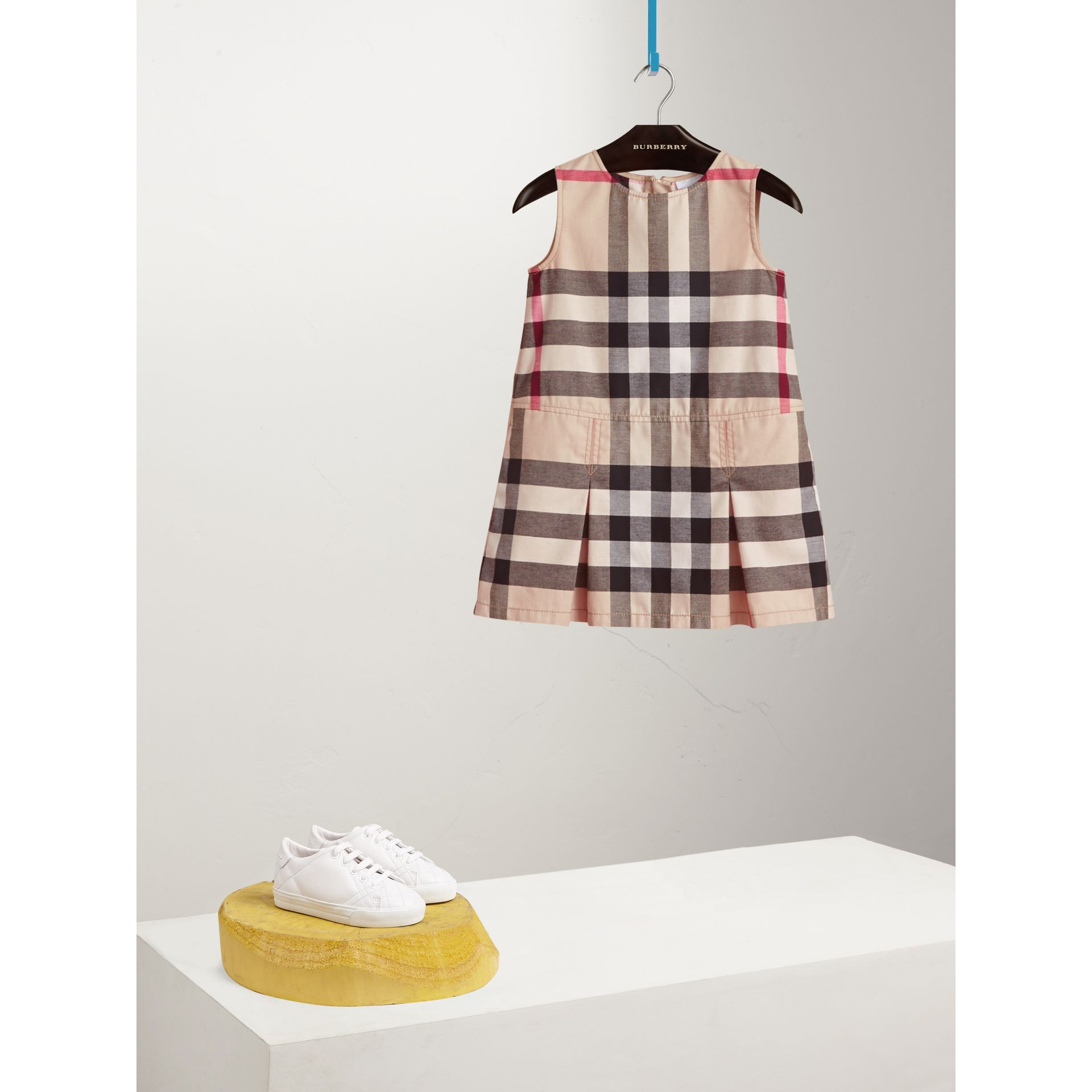 Pleated Check Washed Cotton A-line Dress in Stone - Girl | Burberry Canada - gallery image 0