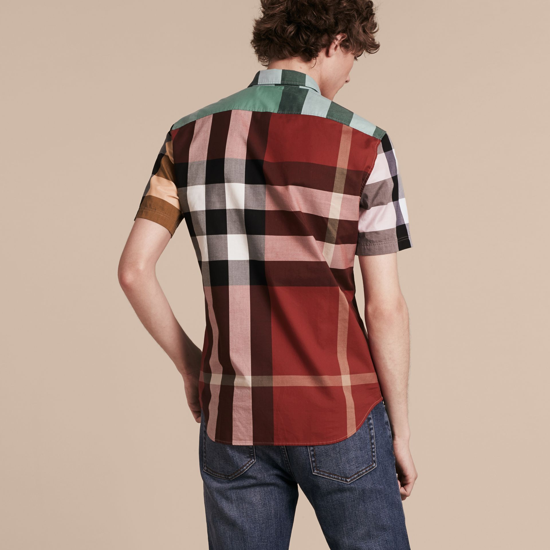 Parade red Short-sleeved Colour Block Check Cotton Shirt Parade Red - gallery image 3