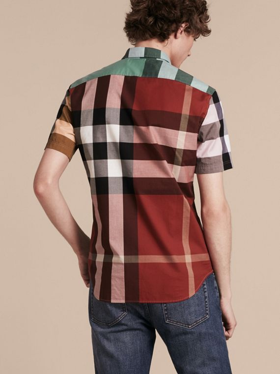 Parade red Short-sleeved Colour Block Check Cotton Shirt Parade Red - cell image 2
