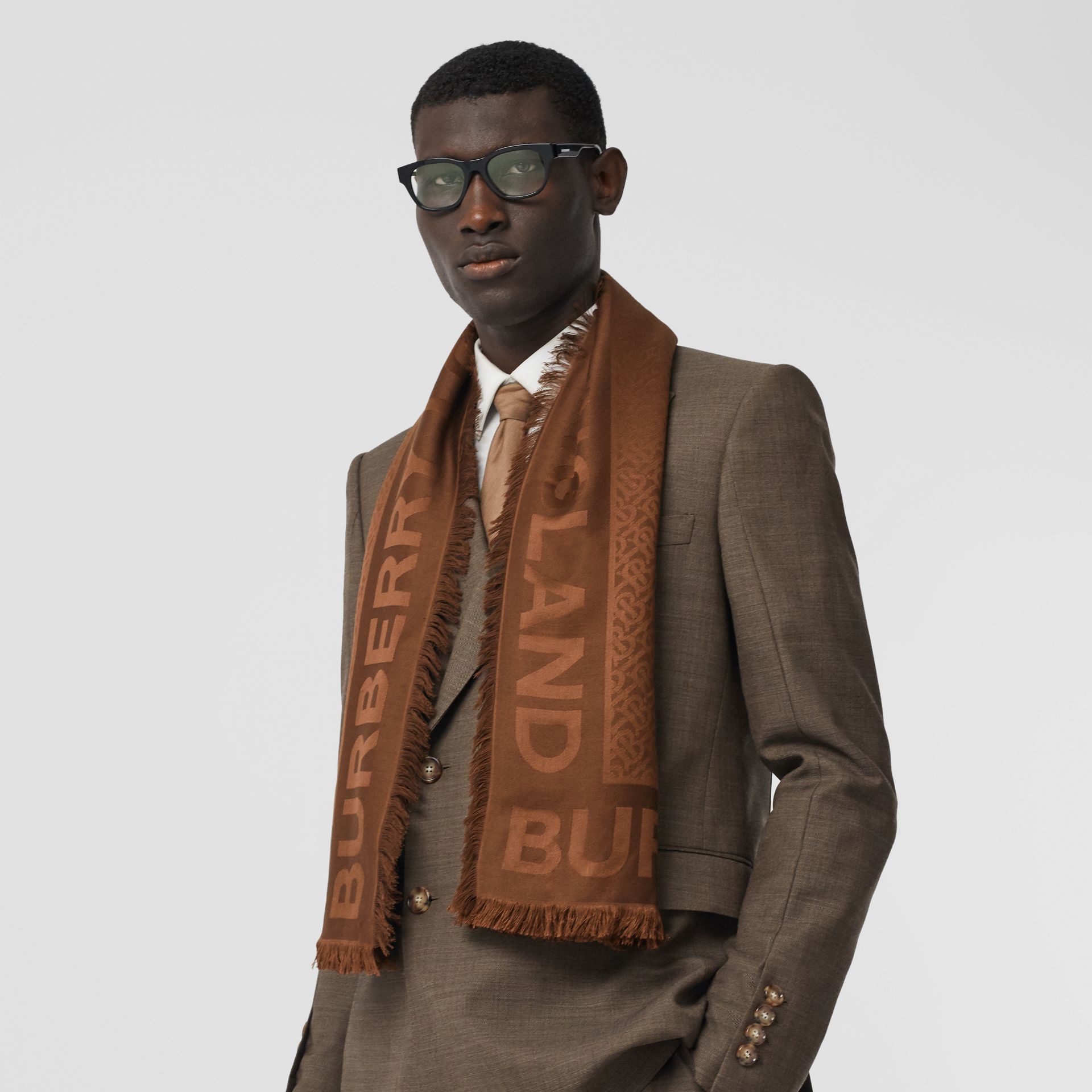 Monogram Silk Wool Jacquard Large Square Scarf in Dark Chestnut Brown | Burberry - gallery image 3
