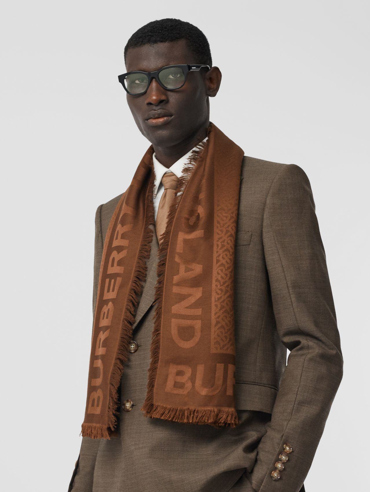 Monogram Silk Wool Jacquard Large Square Scarf in Dark Chestnut Brown