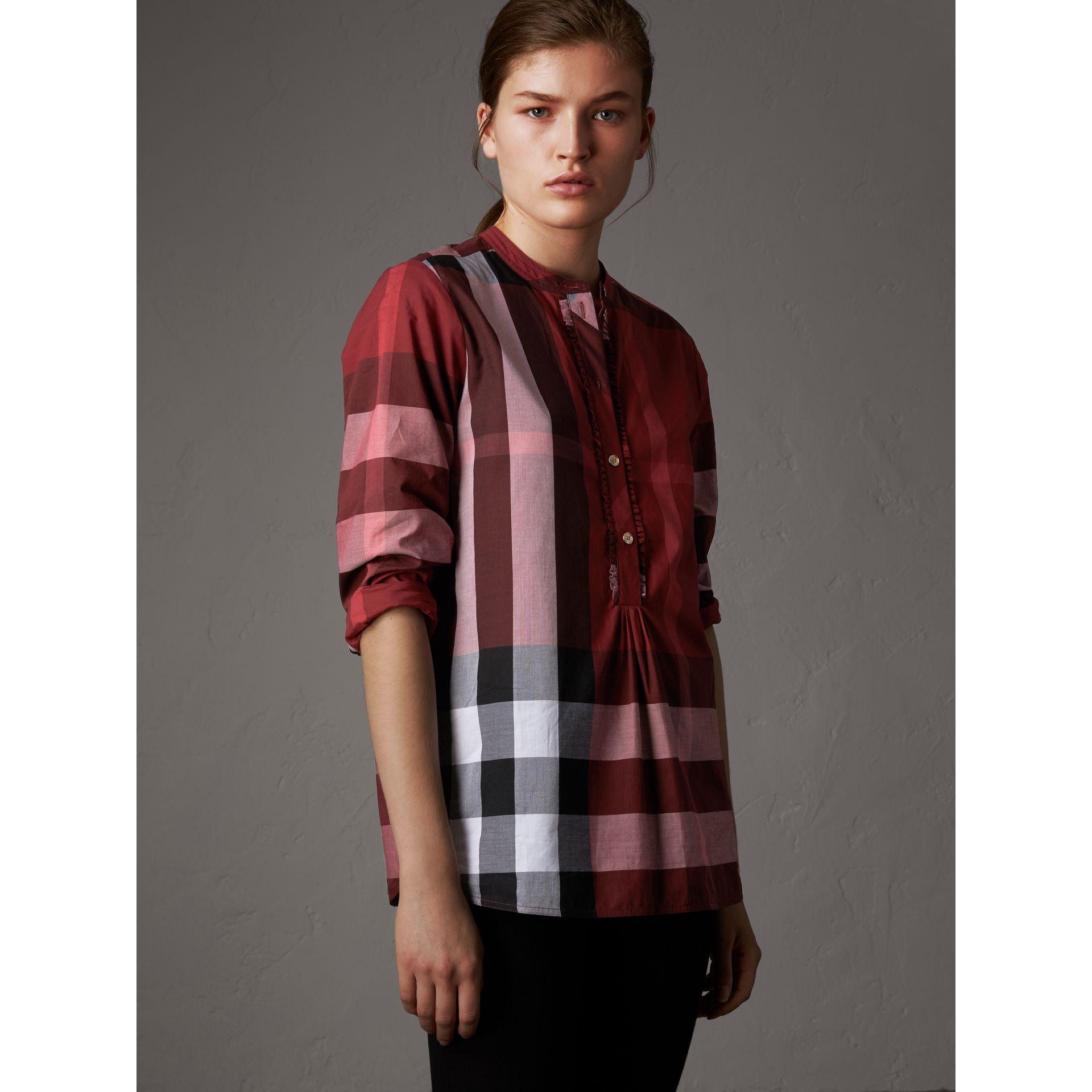 Check Grandad Collar Shirt in Carmine Red - Women | Burberry Canada - gallery image 1
