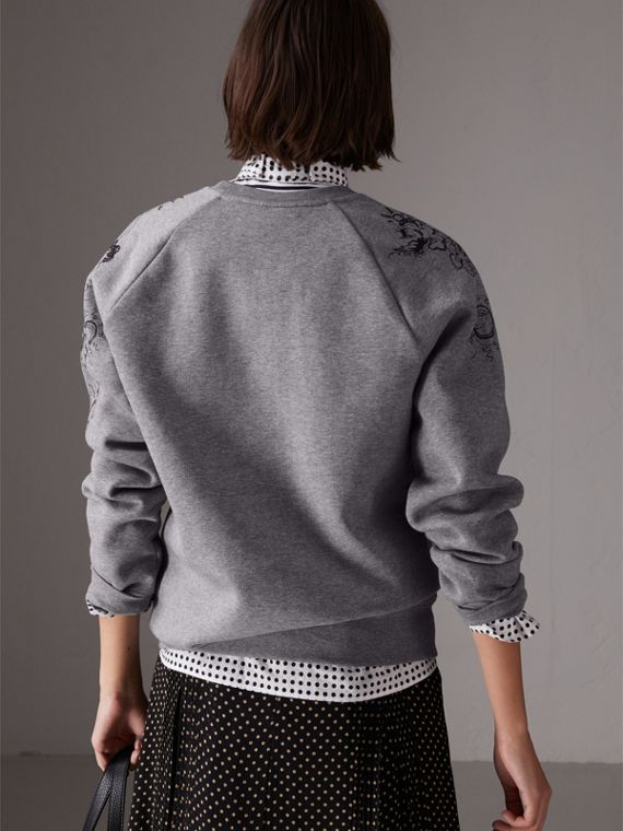Doodle Print Jersey Sweatshirt in Pale Grey Melange - Women | Burberry Australia - cell image 2