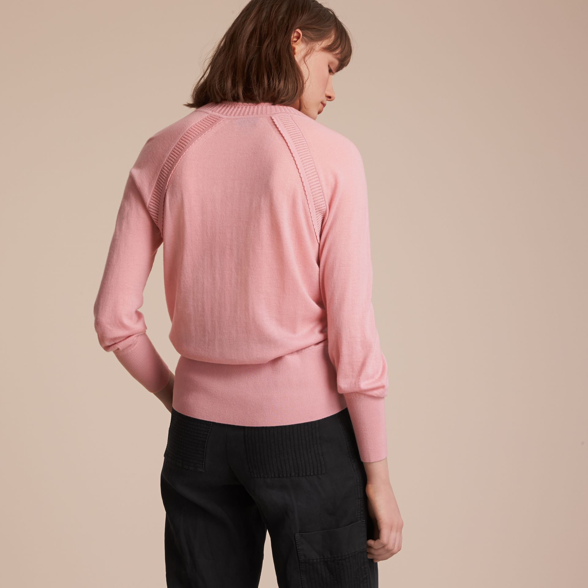 Open-knit Detail Cashmere Crew Neck Sweater in Apricot Pink - Women | Burberry - gallery image 3