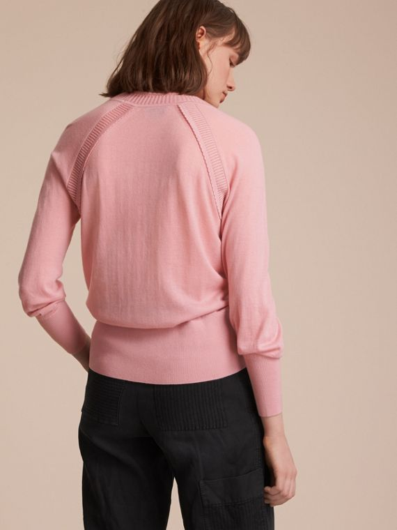 Open-knit Detail Cashmere Crew Neck Sweater in Apricot Pink - Women | Burberry - cell image 2