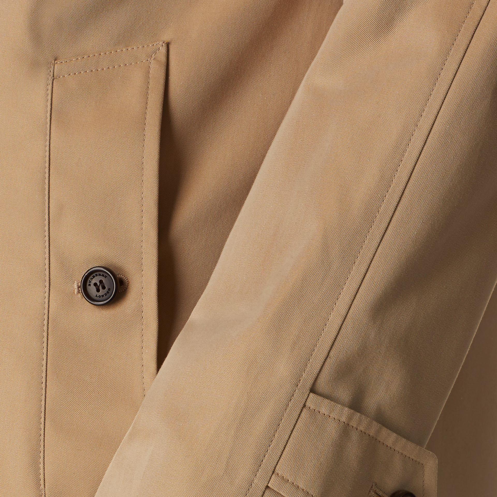 Long Cotton Gabardine Car Coat in Honey - Men | Burberry - gallery image 2