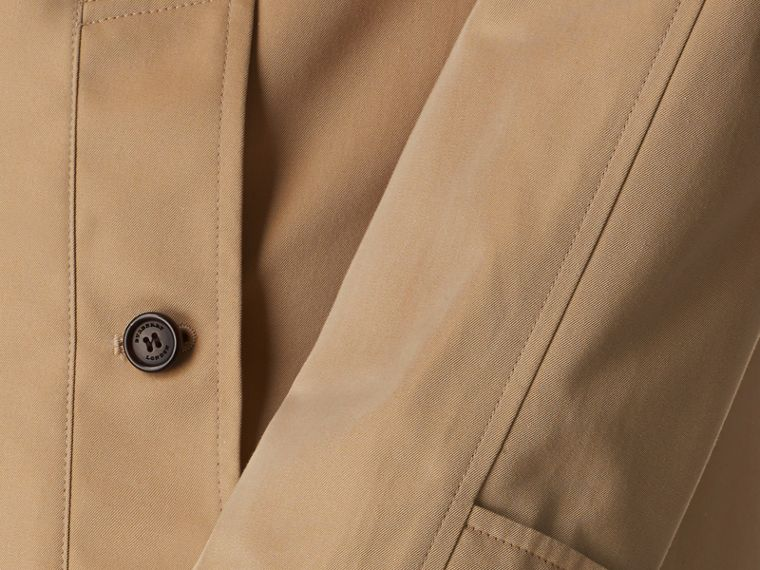 Long Cotton Gabardine Car Coat in Honey - Men | Burberry - cell image 1