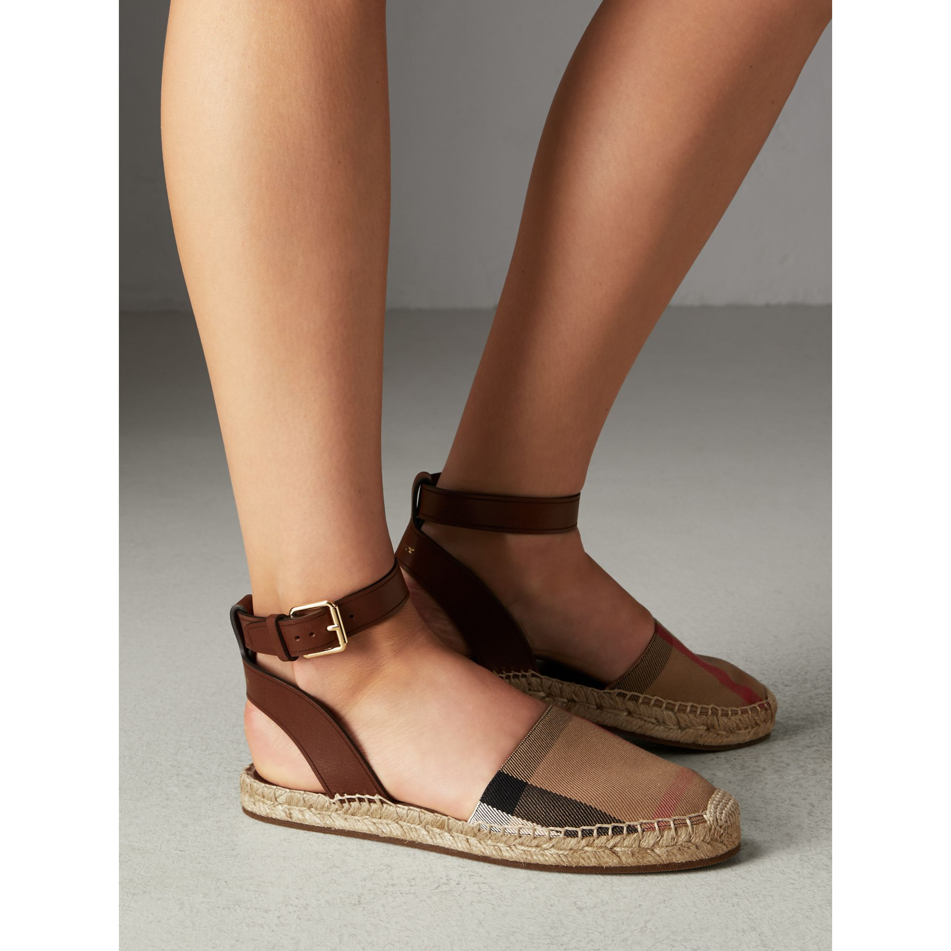 Leather and House Check Espadrille Sandals in Dark Tan - Women | Burberry Singapore - gallery image 2