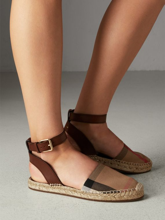 Leather and House Check Espadrille Sandals in Dark Tan - Women | Burberry Australia - cell image 2