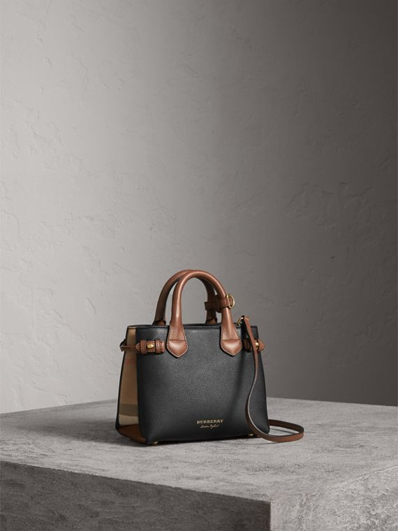 Borsa The Baby Banner in pelle con motivo House check - Donna | Burberry