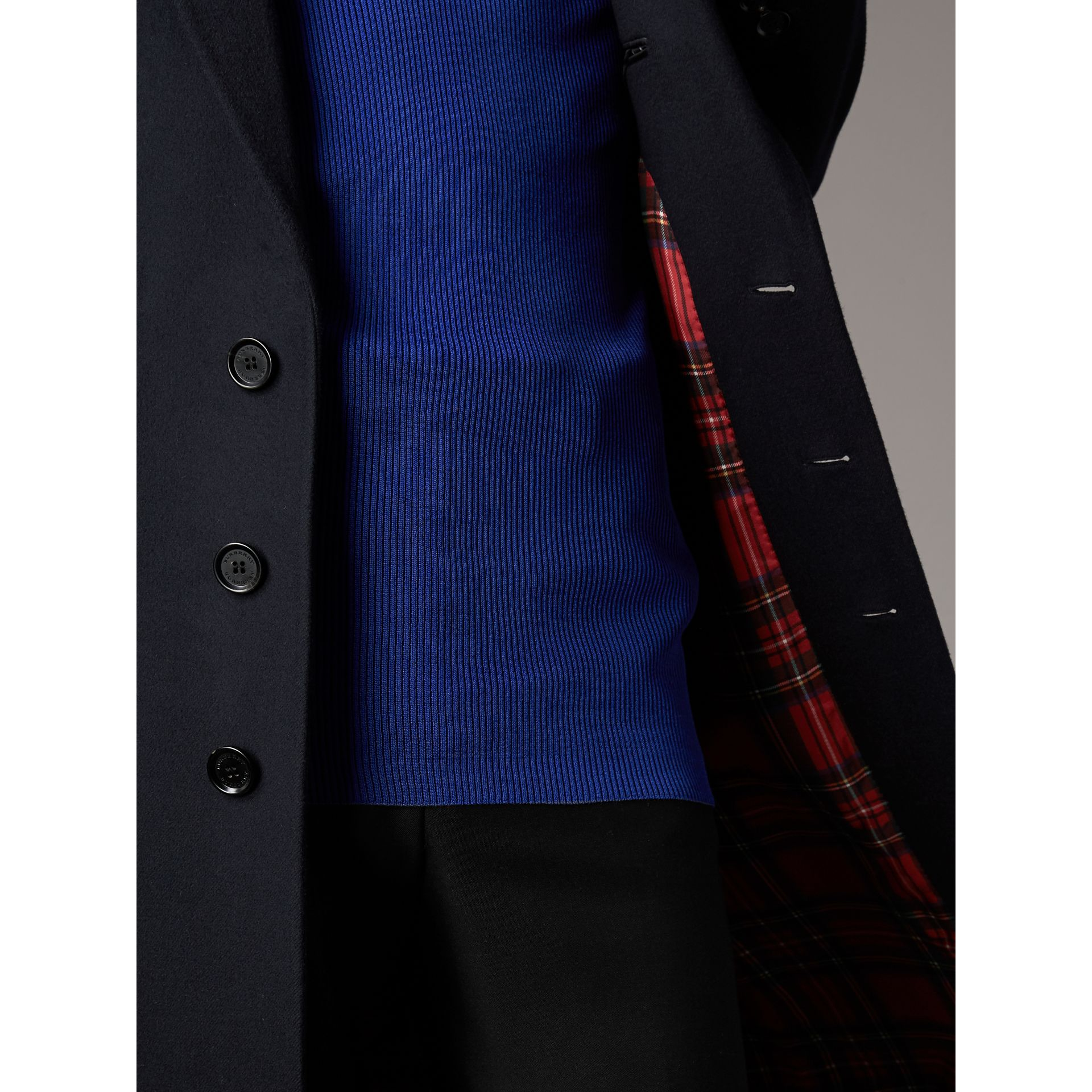 Tartan-lined Cashmere Twill Topcoat in Navy - Men | Burberry United Kingdom - gallery image 1